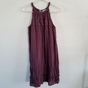 LOFT | Burgundy Halter High Neck Shift Mini Dress